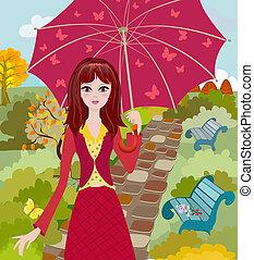 autunno, parco, ragazza, ombrello