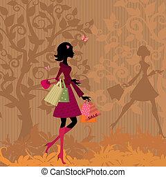 autunno, parco, ragazza, shopping