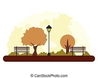autunno, parco, retro, paesaggio