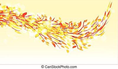 autunno parte, albero., fondo, cadere