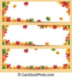autunno parte, bandiere, fondo, acero