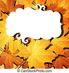 autunno parte, con, cornice