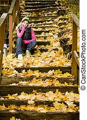 autunno parte, donna