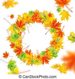 autunno parte, ghirlanda, isolato, bianco