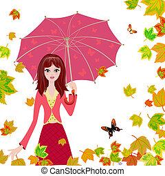 autunno parte, ombrello, cadere, ragazza