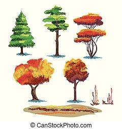 autunno, piante, schizzo, set