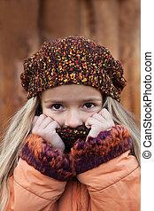 autunno, poco, freddo, ragazza