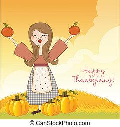 autunno, ragazza, con, mele, e, zucche
