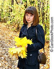 autunno, ragazza, foresta