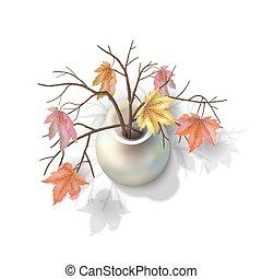 autunno, rami, vaso
