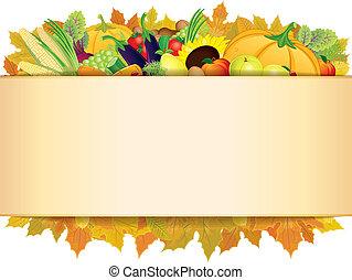 autunno, ringraziamento, fondo., vettore, eps, 10