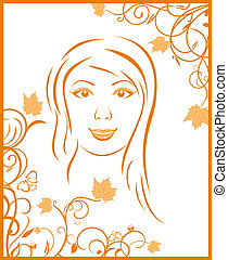 autunno, ritratto, astratto, ragazza, faccia