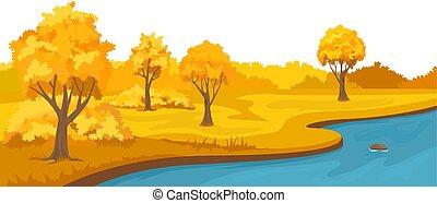 autunno, rurale, fiume, colline, paesaggio