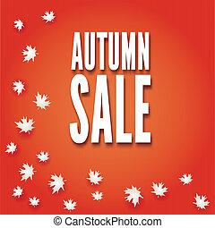autunno, sale., foglie, vettore, cadere