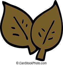 autunno, scarabocchiare, foglie, cartone animato