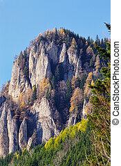 autunno, scenario, montagna rocciosa