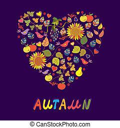 autunno, scheda, con, astratto, cuore, di, fiori, frutte, uccelli