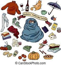 autunno, set, colorito, scarabocchiare, mano, simboli, oggetti, disegnato, adesivi, cartone animato