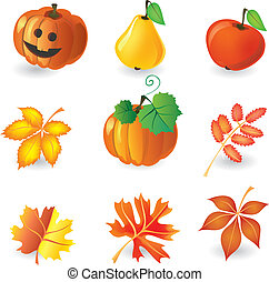 autunno, set, icone