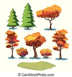 autunno, set, piante, schizzo, mini