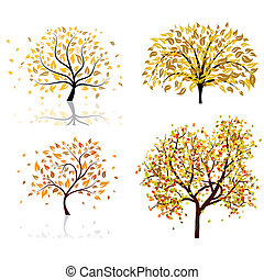 autunno, set, quattro, albero