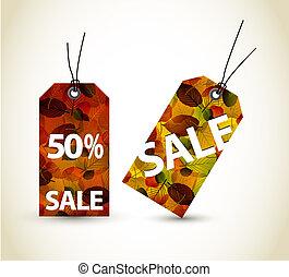 autunno, set, vendita, vettore, etichette