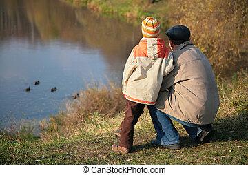 autunno, sguardo, nipote, nonno, acqua, dietro, anatre legno