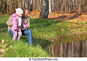 autunno, sguardo, nipote, nonno, acqua, legno