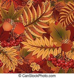 autunno, stagionale, fondo, vettore, illustrazione