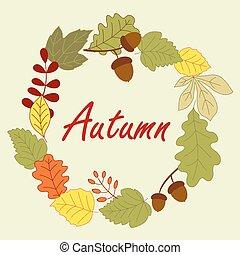 autunno, stagione, cornice, foglie