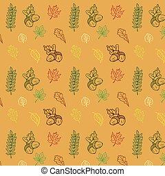 autunno, stagione, mano, modello, disegnato