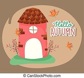 autunno, stagione, mulino, ciao, cartone animato
