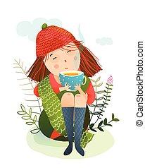 autunno, tè, ragazza, riscaldare, tazza