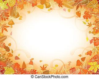 autunno, testo, cornice, foglia, spazio