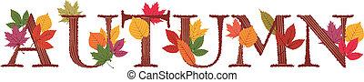 autunno, testo, decorato, foglie