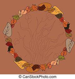 autunno, testo, foglie, tuo, cornice