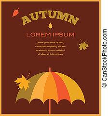 autunno, time., umbrela, mette foglie, cadere