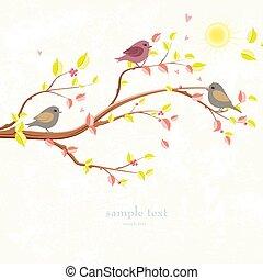 autunno, uccelli, romantico, scheda, invito