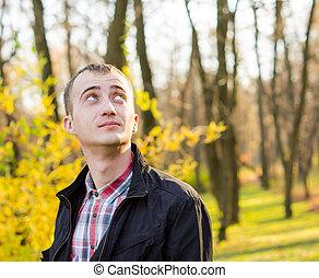 autunno, uomo, parco, giovane, bello