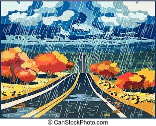 autunno, valle, attraverso, strada