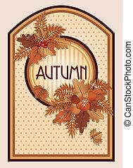 autunno, vendemmia, vettore, scheda