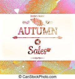 autunno, vendita, -, cadere, leaves., eps, 10