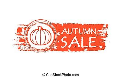 autunno, vendita, zucca, fogli caduta, v