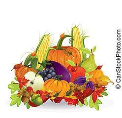 autunno, verdura, frutte