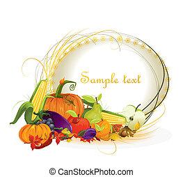 autunno, verdura, vettore, fondo, frutte