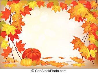 autunno, vettore, bandiera, vendita, fogliame