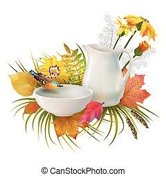 autunno, vettore, composizione