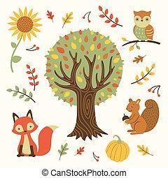 autunno, vettore, disegni elementi