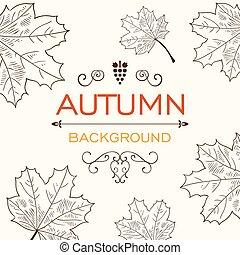autunno, vettore, disegno
