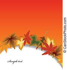 autunno, vettore, foglia, fondo